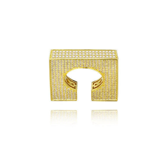 3D Square Pave Statement Ring
