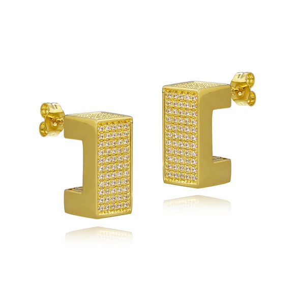 3D Square Pave Earrings
