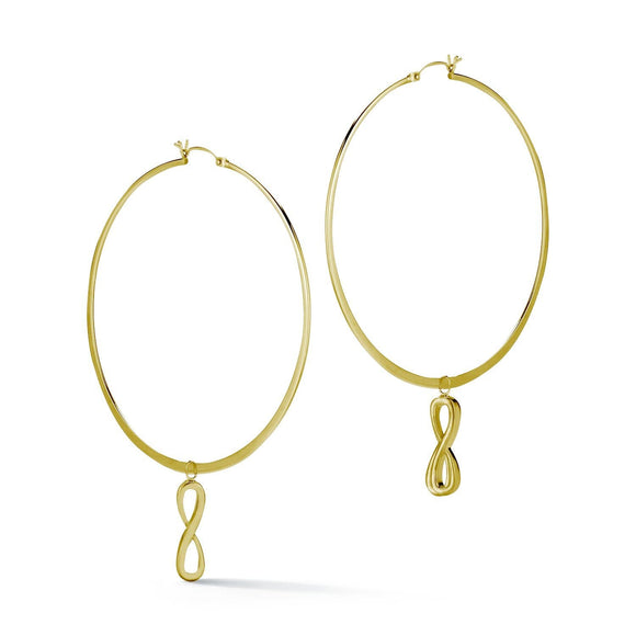 Infinity Dangle Hoop Earrings earrings KATHRYN New York Yellow Gold Vermeil One Size Fits All