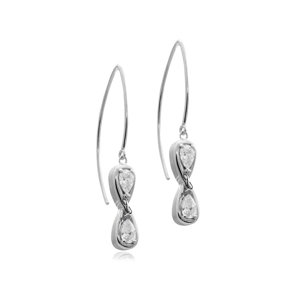 Infinity Stone Earwires earrings KATHRYN New York White Topaz Silver One Size Fits All