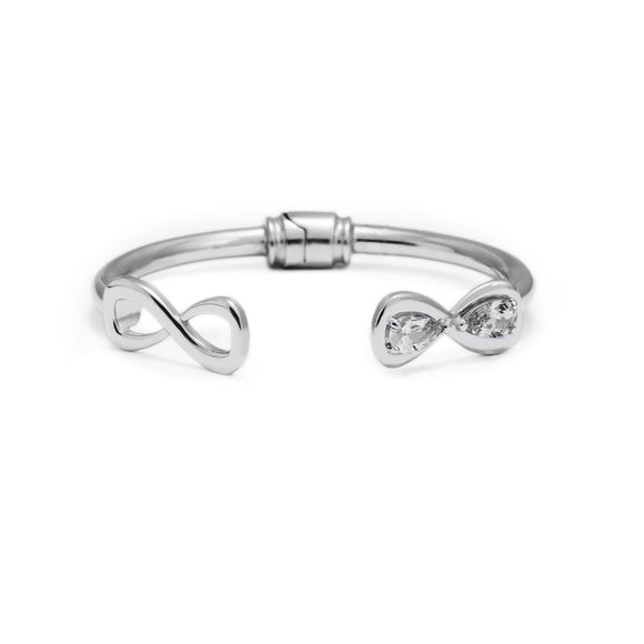 Infinity Stone Mixed Hinge Bracelet bracelets KATHRYN New York White Sapphire Silver Small/Medium
