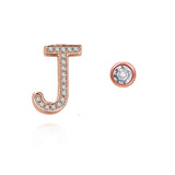 J Initial Bezel Mismatched Earrings