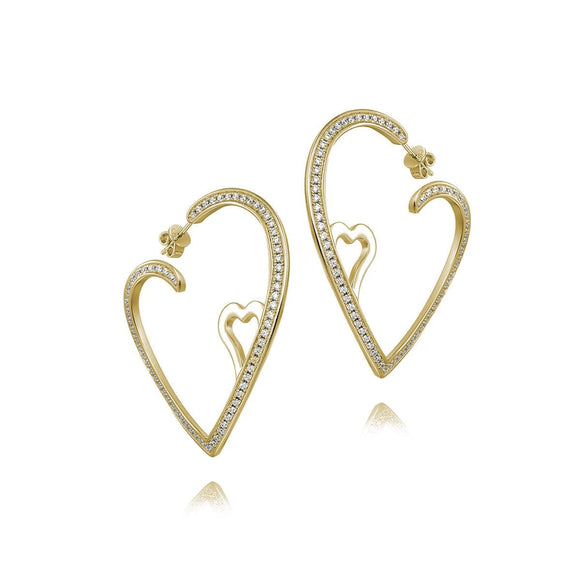 Double Heart Open Hoops