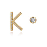 K Initial Bezel Mismatched Earrings
