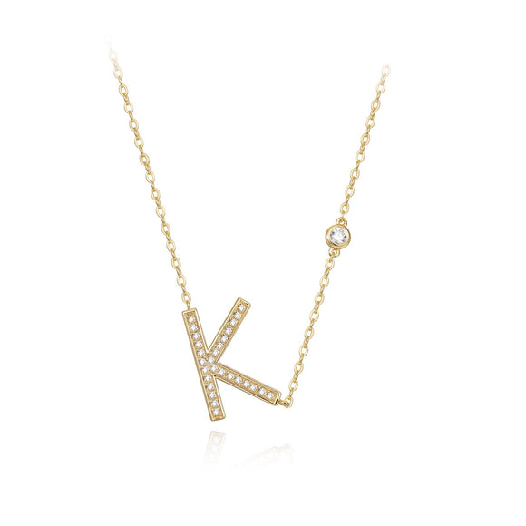 K Initial Bezel Chain Necklace