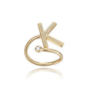 K Initial Bezel Wire Ring