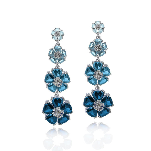 Quadruple tiered blossom drop earrings