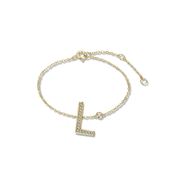 L Initial Bezel Chain Anklet