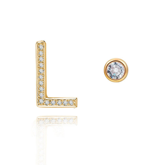 L Initial Bezel Mismatched Earrings