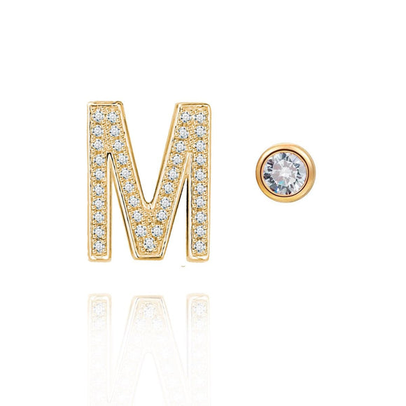 M Initial Bezel Mismatched Earrings