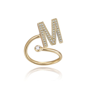 M Initial Bezel Wire Ring