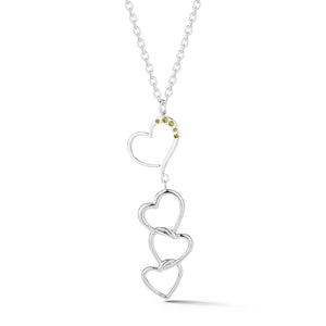 Multi-heart pave necklace