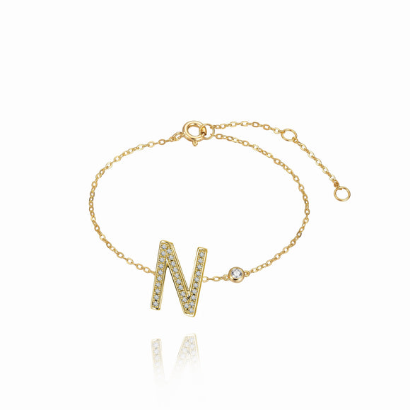 N Initial Bezel Chain Anklet