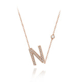 N Initial Bezel Chain Necklace