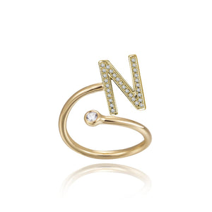 N Initial Bezel Wire Ring