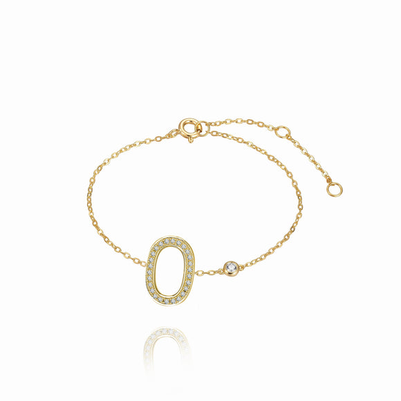 O Initial Bezel Chain Anklet
