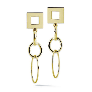 Open Square Oval Drop Earrings