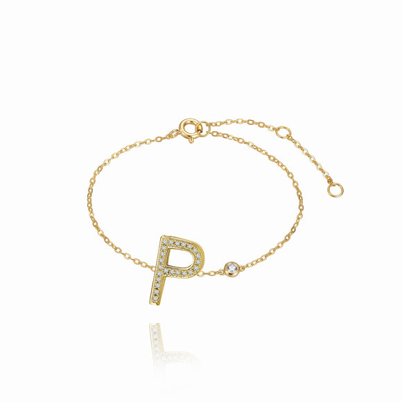 P Initial Bezel Chain Anklet