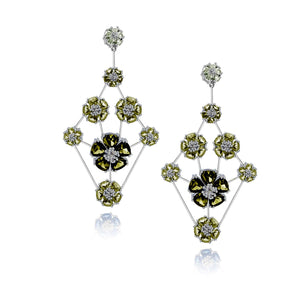 Blossom triple-tier chandelier earrings