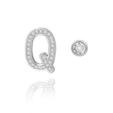 Q Initial Bezel Mismatched Earrings
