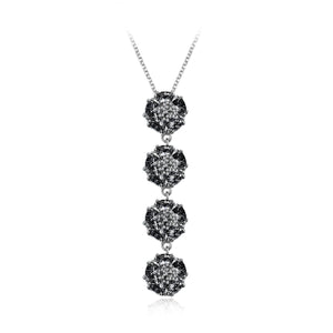 Quadruple vertical  blossom gentile necklace