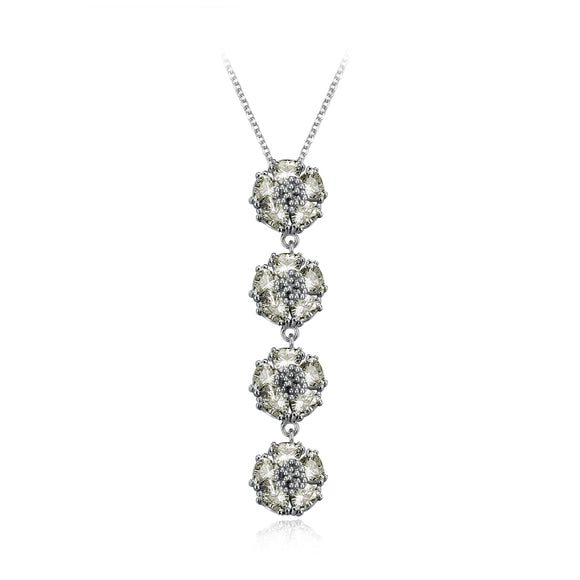 Quadruple vertical blossom gentile necklace necklaces KATHRYN New York Champagne Sapphire Silver One Size Fits All