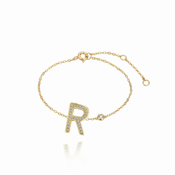 R Initial Bezel Chain Anklet