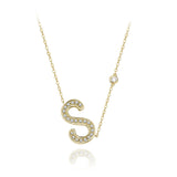 S Initial Bezel Chain Necklace