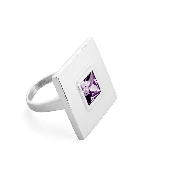 Square large stone statement ring rings KATHRYN New York Amethyst Silver Size 4
