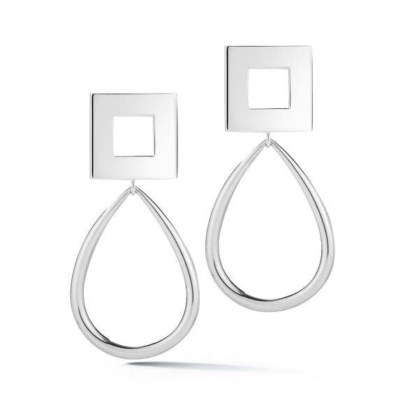 Square oblong hoops earrings KATHRYN New York Sterling Silver One Size Fits All