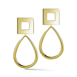 Square oblong hoops earrings KATHRYN New York Yellow Gold Vermeil One Size Fits All