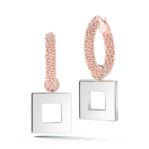 Square Pebble Hoop Dangle Earrings