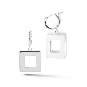 Square Small Hoop Dangle Earrings