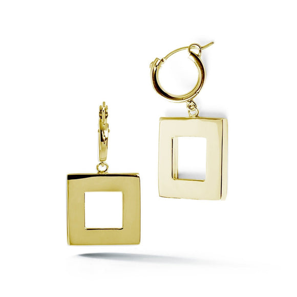 Square small hoop dangle earrings earrings KATHRYN New York Yellow Gold Vermeil One Size Fits All