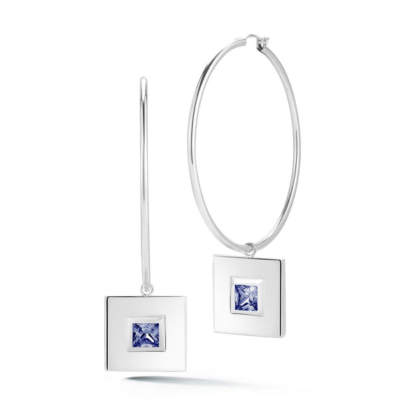 Square small stone dangle hoops earrings KATHRYN New York Dark Blue Sapphire Silver One Size Fits All