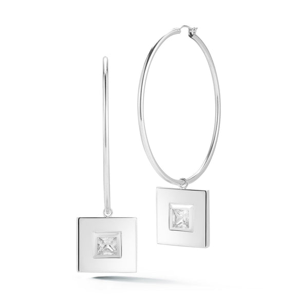 Square small stone dangle hoops earrings KATHRYN New York White Topaz Silver One Size Fits All