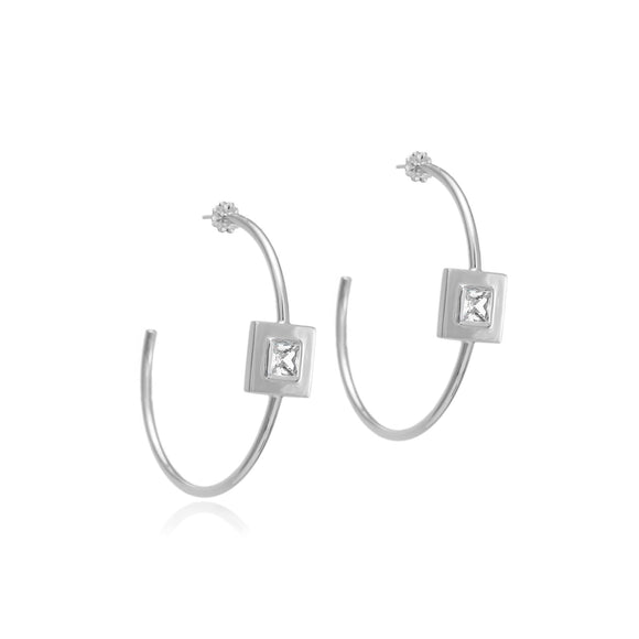 Square small stone open hoops earrings KATHRYN New York White Topaz Silver One Size Fits All