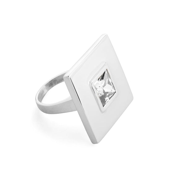 Square small stone statement ring rings KATHRYN New York White Topaz Silver Size 4