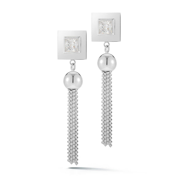 Square stone fat tassel earrings earrings KATHRYN New York White Sapphire Silver One Size Fits All