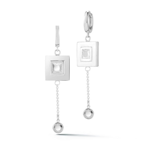 Square stone small hoop chain earrings earrings KATHRYN New York White Topaz Silver One Size Fits All