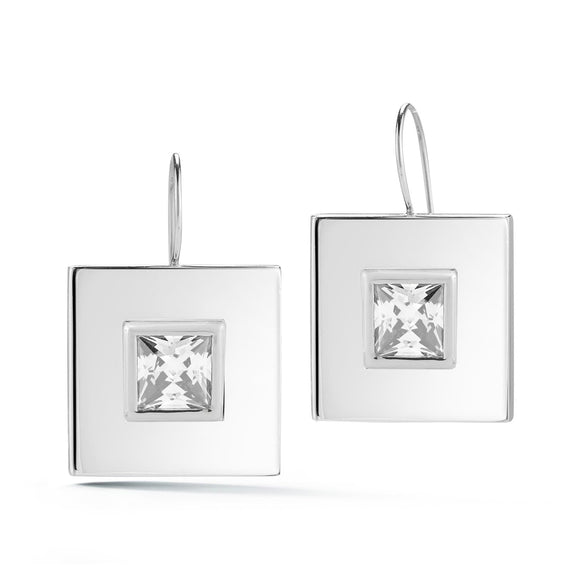 Square stone wire dangle studs earrings KATHRYN New York White Topaz Silver One Size Fits All