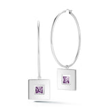 Square Small Stone Dangle Hoops