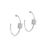 Square Small Stone Open Hoops