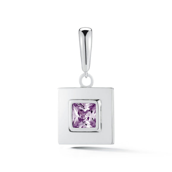 Square stone detachable charm/ pendant charms/pendants KATHRYN New York Amethyst Silver One Size Fits All