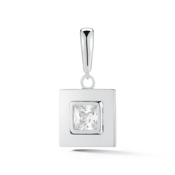 Square stone detachable charm/ pendant charms/pendants KATHRYN New York White Topaz Silver One Size Fits All