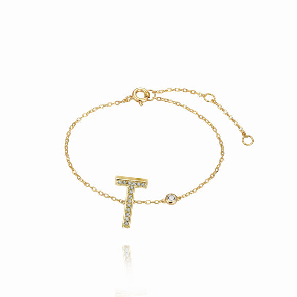 T Initial Bezel Chain Anklet