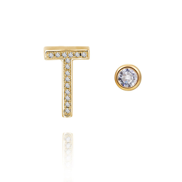 T Initial Bezel Mismatched Earrings