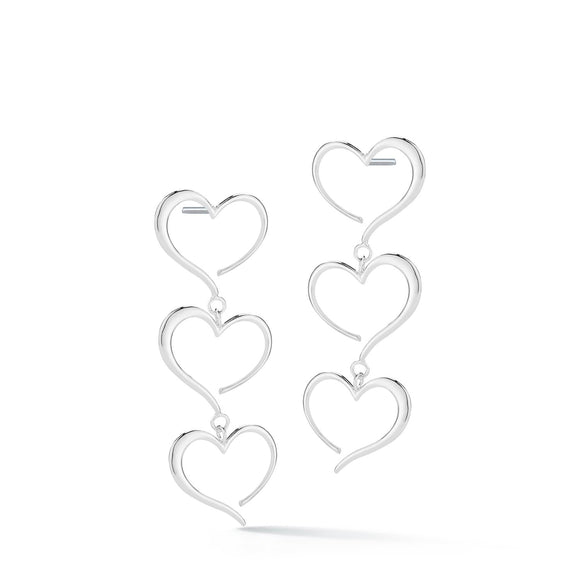 Triple heart dangle earrings earrings KATHRYN New York Sterling Silver One Size Fits All