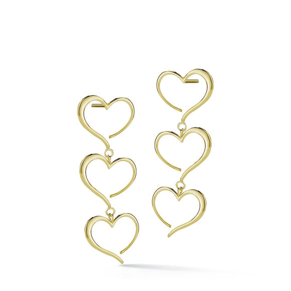 Triple heart dangle earrings earrings KATHRYN New York Yellow Gold Vermeil One Size Fits All