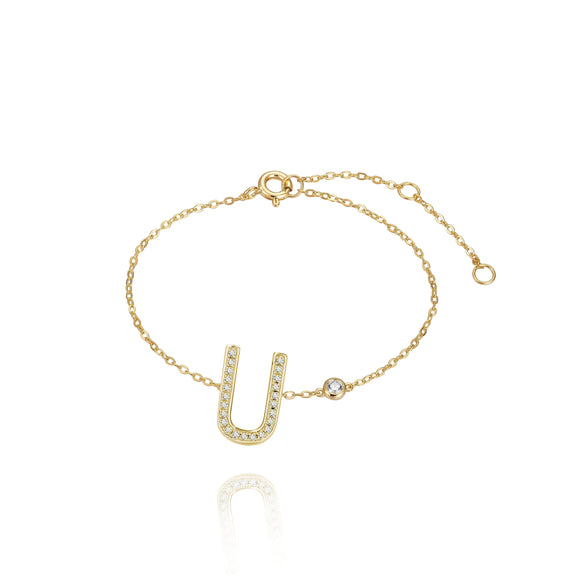 U Initial Bezel Chain Anklet